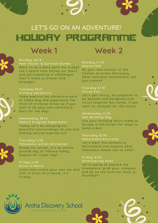Term 3 Holiday Programme Schedule